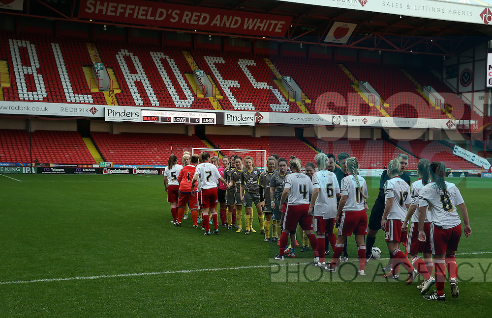 Sheffield United Ladies team shake hands with the opposition team during the FA Women's Cup First Round match at Bramall Lane Stadium, Sheffield. Picture date: December 4th, 2016. Pic Clint Hughes/Sportimage