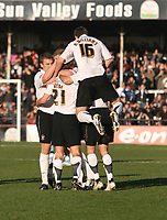 Photo:Mark Stephenson,Hereford united v Port vale.<br />fa cup 2-11-2006Hereford celabrate there first half goal,Luck webb.