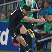 Dan Carter, New Zealand, kicks a conversion during the New Zealand V France, Pool A match during the IRB Rugby World Cup tournament. Eden Park, Auckland, New Zealand, 24th September 2011. Photo Tim Clayton...