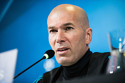 April 2, 2018 - Turin, Piedmont/Turin, Italy - Zinédine Zidane during the Real Madrid press conference before the UFC match Juventus FC vs Real Madrid. Allianz Stadium, Turin, Italy 2nd april 2018  (Credit Image: © Alberto Gandolfo/Pacific Press via ZUMA Wire)