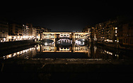 The Ponte Vecchio over the river Arno in Florence, Tuscany, Italy.<br /> Picture date: Sunday February 24, 2019.<br /> Photograph by Christopher Ison ©<br /> 07544044177<br /> chris@christopherison.com<br /> www.christopherison.com