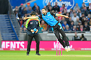 Wayne Parnell of Worcestershire can't stop a shot from Laurie Evans of Sussex during the final of the Vitality T20 Finals Day 2018 match between Worcestershire Rapids and Sussex Sharks at Edgbaston, Birmingham, United Kingdom on 15 September 2018.