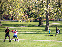 © Licensed to London News Pictures. 23/04/2020. London, UK. Tw people box while exercising on Primrose Hill in the sunshine during lockdown as temperatures reach 24c while government scientists decide if members of the public should wear home made masks outside and ministers grapple with when and how to release people from the coronavirus pandemic lockdown. Photo credit: Alex Lentati/LNP