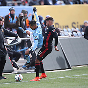 NEW YORK, NEW YORK - March 12:  Maximiliano Moralez #10 of New York City FC is challenged by Sean Franklin #5 of D.C. United  in action during the NYCFC Vs D.C. United regular season MLS game at Yankee Stadium on March 12, 2017 in New York City. (Photo by Tim Clayton/Corbis via Getty Images)