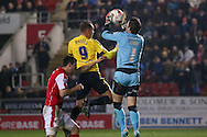Rotherham United goalkeeper Lee Camp (1)  claims the ball ahead of Middlesbrough forward Jordan Rhodes (9)  during the Sky Bet Championship match between Rotherham United and Middlesbrough at the New York Stadium, Rotherham, England on 8 March 2016. Photo by Simon Davies.