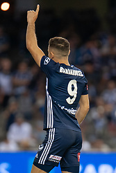 February 23, 2019 - Melbourne, VIC, U.S. - MELBOURNE, VIC - FEBRUARY 23: Melbourne Victory forward Kosta Barbarouses (9) gestures to fans after scoring at round 20 of the Hyundai A-League Soccer between Melbourne City FC and Melbourne Victory on February 23, 2019 at Marvel Stadium, VIC. (Photo by Speed Media/Icon Sportswire) (Credit Image: © Speed Media/Icon SMI via ZUMA Press)