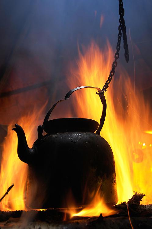 Coffe pot in the fire, Sledding safari tour with saami tour operator Min Ealin. Övre Soppero, Lapland, Norrbotten, Sweden.