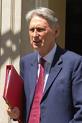 Downing Street, London, June 16th 2015. Home Secretary Philip Hammond leaves 10 Downing Street.