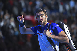 November 16, 2017 - London, England, United Kingdom - Croatia's Marin Cilic gestures as he returns to Switzerland's Roger Federer during their men's singles round-robin match on day five of the ATP World Tour Finals tennis tournament at the O2 Arena in London on November 16, 2017. (Credit Image: © Alberto Pezzali/NurPhoto via ZUMA Press)