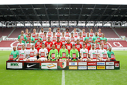 08.07.2015, WWK Arena, Augsburg, GER, 1. FBL, FC Augsburg, Fototermin, im Bild l-r: hinter Reihe, Marco Schuster #29 (FC Augsburg), Alexander Esswein #11 (FC Augsburg), Halil Altintop #7 (FC Augsburg), Ragnar Klavan #5 (FC Augsburg), Jeong-Ho Hong #20 (FC Augsburg), Francisco da Silva Caiuby #30 (FC Augsburg), Christoph Janker #16 (FC Augsburg), Nikola Djurdjic #34 (FC Augsburg), Markus Feulner #8 (FC Augsburg), Dominik Kohr #21 (FC Augsburg), l-r: 2 Reihe von hinten, Arzt Florian Elser (FC Augsburg),Mannschaftsarzt Andreas Weigel (FC Augsburg), Mannschaftsarzt Peter Stiller (FC Augsburg), Jan Moravek #14 (FC Augsburg), Raphael Framberger #32 (FC Augsburg), Paul Verhaegh #2 (FC Augsburg), Arif Ekin #31 (FC Augsburg), Daniel Baier #10 (FC Augsburg), Physiotherapeut James Morgen (FC Augsburg), Physio Marco Grimm (FC Augsburg), Physio Oliver Roesch (FC Augsburg), l-r: 2 Reihe von vorne, Maik Uhde #39 (FC Augsburg), Ronny Philp #3 (FC Augsburg), Videoanalyse Lars Gerling (FC Augsburg), Reha- und Athletik-Trainer Thomas Barth (FC Augsburg), Tortwarttrainer Zdenko Miletic (FC Augsburg), Co-Trainer Tobias Zellner (FC Augsburg), Co-Trainer Wolfgang Beller (FC Augsburg), Chef-Trainer Markus Weinzierl (FC Augsburg), Tobias Werner #13 (FC Augsburg), Bastian Kurz #26 (FC Augsburg), l-r: vorder Reihe, Zeugwart Zdenek Vidrman (FC Augsburg), Tim Rieder #40 (FC Augsburg), Sascha Moelders #33 (FC Augsburg), Dong Won Ji #22 (FC Augsburg), Alexander Manninger #1 (FC Augsburg), Marwin Hitz #35 (FC Augsburg), Yannik Oettl #28 (FC Augsburg), Max Reithaler #36 (FC Augsburg), Tim Matavz #23 (FC Augsburg), Jan-Ingwer Callsen-Bracker #18 (FC Augsburg), Zeugwart Salvatore Belardo (FC Augsburg) // during the official Team and Portrait Photoshoot of German Bundesliga Club FC Augsburg at the WWK Arena in Augsburg, Germany on 2015/07/08. EXPA Pictures © 2015, PhotoCredit: EXPA/ Eibner-Pressefoto/ Kolbert<br /> <br /> *****ATTENTION - OUT of GER*****