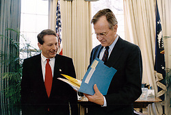 United States President George H.W. Bush meets with new Chief of Staff Samuel K. Skinner the Oval Office of the White House in Washington, DC on December 16, 1991. Photo by David Valdez / White House via CNP/ABACAPRESS.COM
