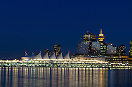 View of Downtown Vancouver during blue hour from Stanley Park in Vancouver, British Columbia, Canada