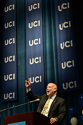 "May 1, 2019 - Irvine, California, U.S. - UCI Chancellor Howard Gillman makes the sign of the anteater and says, ""Zot, zot, zot"" as he addresses high school students during College Signing Day in Irvine, CA, on Wednesday, May 1, 2019. The school hosted about 1,100 local high school seniors who plan to attend some form of higher education in the fall. It's part of College Singing Day at UC campuses. (Credit Image: © Jeff Gritchen/SCNG via ZUMA Wire)"