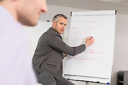 Businessman at flipchart leading meeting