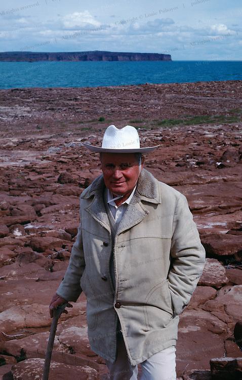 Paleontologist Jose Bonaparte at Cretaceous Site in Argentina.
