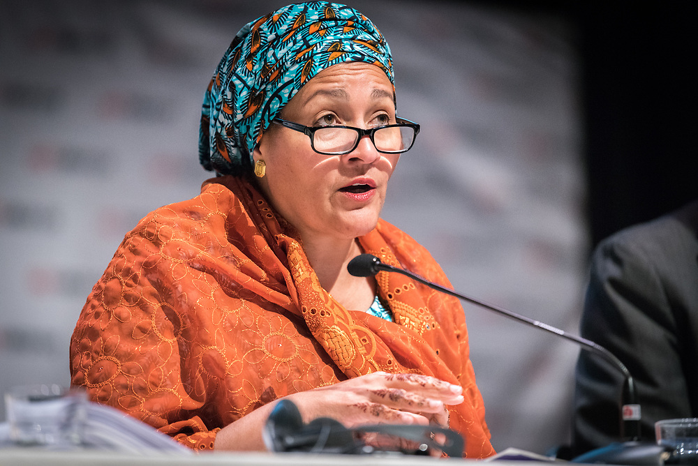 """29 October 2018, Uppsala, Sweden: Amina Mohammed speaks during a plenary on """"The role of faith based actors in achieving the 2030 Agenda for Sustainable Development"""". The session included speeches by Amina Mohammed, Deputy Secretary General of the United Nations, Carin Jämtin, Director General of Swedish International Development Cooperation Agency, and Swedish deputy Prime Minister Isabella Löwin. Rev. Dr Martin Junge, General Secretary of the Lutheran World Federation moderated the session."""