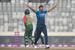 January 25, 2018 - Dhaka, Dhaka, Bangladesh - Sri Lanka fast bowler Suranga Lakmal asking for lbw during the 6th ODI match in the Tri-series between Sri Lanka vs Bangladesh at the Sher-e-Bangla National Cricket Stadium in Mirpur, Dhaka on 25th  January 2018. (Credit Image: © Sameera Peiris/Pacific Press via ZUMA Wire)