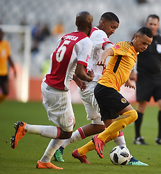 Cape Town-180512  Ajax Cape Town defender Mosa Lebusa and Morne Nel challenges Gustavo Paez in the last game of the PSL at Cape Town stadium.photographer:Phando Jikelo/African News Agency/ANA