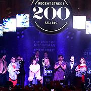 Celebrities at Regent Street Christmas Lights switch-on celebrate its 200th anniversary on 14 November 2019, London, UK.