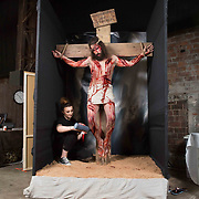 'Crucifixion of Christ', student Charlie McGuire from Dennistoun, Glasgow puts the finishing touches to her work.<br /> <br />  HND Makeup Artistry students at West College Scotland, Clydebank campus present a live showcase/exhibition of their work at SWG3, Glasgow on the 2nd May 2019 which featured live models showcasing works from bodypainting and wigs to special effects/prosthetics. <br /> <br /> Picture Robert Perry  2nd May 2019<br /> <br /> Must credit photo to Robert Perry<br /> FEE PAYABLE FOR REPRO USE<br /> FEE PAYABLE FOR ALL INTERNET USE<br /> www.robertperry.co.uk<br /> NB -This image is not to be distributed without the prior consent of the copyright holder.<br /> in using this image you agree to abide by terms and conditions as stated in this caption.<br /> All monies payable to Robert Perry<br /> <br /> (PLEASE DO NOT REMOVE THIS CAPTION)<br /> This image is intended for Editorial use (e.g. news). Any commercial or promotional use requires additional clearance. <br /> Copyright 2018 All rights protected.<br /> first use only<br /> contact details<br /> Robert Perry     <br /> <br /> no internet usage without prior consent.         <br /> Robert Perry reserves the right to pursue unauthorised use of this image . If you violate my intellectual property you may be liable for  damages, loss of income, and profits you derive from the use of this image.