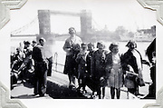 school outing with London Bridge in the background 1950s