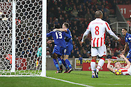 Daniel Amartey of Leicester City (l) celebrates with his teammates after scoring his teams 2nd goal. Premier league match, Stoke City v Leicester City at the Bet365 Stadium in Stoke on Trent, Staffs on Saturday 17th December 2016.<br /> pic by Chris Stading, Andrew Orchard sports photography.