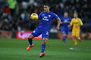 Lee Peltier of Cardiff city in action . EFL Skybet championship match, Cardiff city v Preston North End at the Cardiff city stadium in Cardiff, South Wales on Friday 29th December 2017.<br /> pic by Andrew Orchard, Andrew Orchard sports photography.