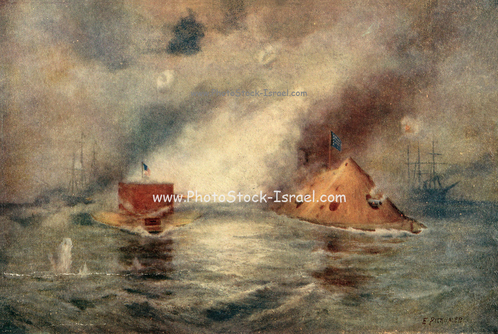 Battle of the Monitor and Merrimack, also called Battle of Hampton Roads, (March 9, 1862), in the American Civil War, naval engagement at Hampton Roads, Virginia, a harbour at the mouth of the James River, notable as history's first duel between ironclad warships and the beginning of a new era of naval warfare. Color artwork painting from the book ' The Civil war through the camera ' hundreds of vivid photographs actually taken in Civil war times, sixteen reproductions in color of famous war paintings. The new text history by Henry W. Elson. A. complete illustrated history of the Civil war