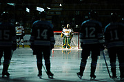 Vermont goalie Stefanos Lekkas (40) waits for his name to be called during players introductions during the men's hockey game between the Mine Black Bears and the Vermont Catamounts at Gutterson Field House on Friday night November 30, 2018 in Burlington. (BRIAN JENKINS/for the FRESS PRESS)