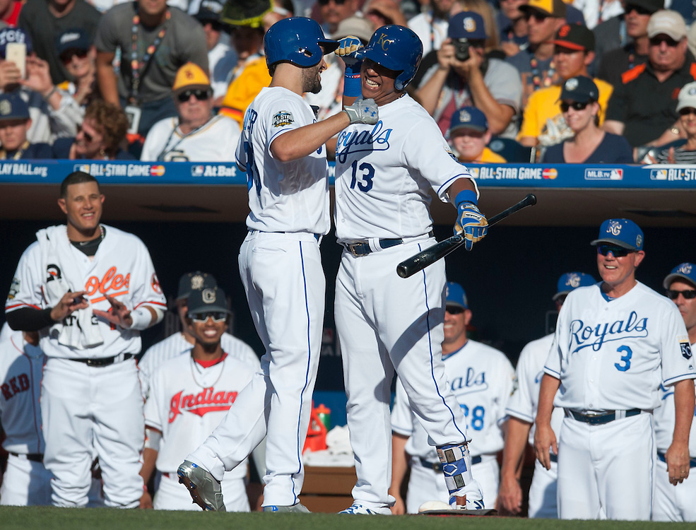 The Royals' Eric Hosmer celebrates with teammate Salvador Perez after his home run in the second inning during the 2016 MLB All-Star Game at Petco Park in San Diego on Tuesday. Perez would homer two batters later.<br /> <br /> ///ADDITIONAL INFO:   <br /> <br /> allstar.0713.kjs  ---  Photo by KEVIN SULLIVAN / Orange County Register  -- 7/12/16<br /> <br /> The 2016 MLB All-Star Game at Petco Park in San Diego.