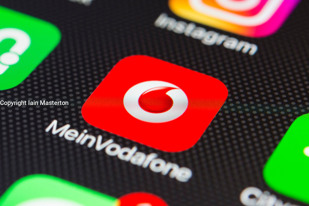 German Vodafone, mobile network provider app close up on iPhone smart phone screen