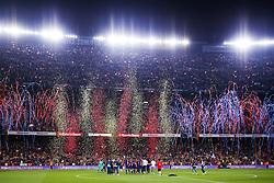 May 6, 2018 - Barcelona, Catalonia, Spain - May 6, 2018 - Camp Nou, Barcelona, Spain - LaLiga Santander- FC Barcelona v Real Madrid CF; FC Barcelona team celebrates the League and Copa del Rey  (Credit Image: © Marc Dominguez via ZUMA Wire)