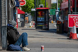 Homeless people in the streets of London, UK, Sunday April 19, 2020. Photo by Erica Dezonne/ABACAPRESS.COM