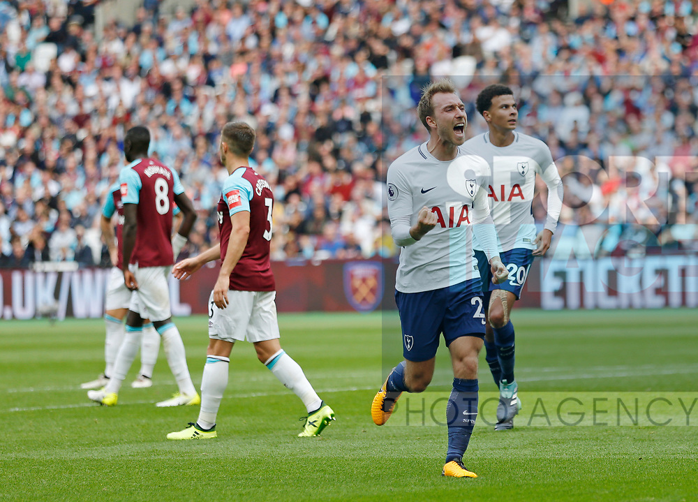 Tottenham's Christian Eriksen celebrates scoring his sides third goal during the premier league match at the London Stadium, London. Picture date 23rd September 2017. Picture credit should read: David Klein/Sportimage