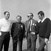 Christy O'Connor, winner; Dr. R.F. O'Driscoll, Captain of Tramore Golf Club; Mr. E.J. Power, General Manager, Irish Dunlop Co. and Hugh Boyle, chatting after the Irish Dunlop £1,000 Tournament at Tramore Golf Club, Co. Waterford on the 19th August 1967.