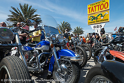 """Great custom bikes (and a lot of them) on display at Willie's Tropical Tattoo """"Chopper Time"""" old school chopper show during Daytona Bike Week's 75th Anniversary event. Ormond Beach, FL, USA. Thursday March 10, 2016.  Photography ©2016 Michael Lichter."""