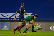 TRY Alex Wooton (#11) of Connacht Rugby scores a try during the Guinness Pro 14 match between Edinburgh Rugby and Connacht Rugby at BT Murrayfield, Edinburgh, Scotland on 25 October 2020.