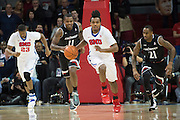 DALLAS, TX - JANUARY 7: Sterling Brown #3 of the SMU Mustangs brings the ball up court against the Cincinnati Bearcats on January 7, 2016 at Moody Coliseum in Dallas, Texas.  (Photo by Cooper Neill/Getty Images) *** Local Caption *** Sterling Brown
