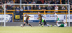 Alloa Athletic's Liam Buchanan on way to scoring their first goal.<br /> Alloa Athletic 2 v 1 Hibernian, Scottish Championship game played 30/8/2014 at Alloa Athletic's home ground, Recreation Park, Alloa.