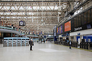 Interior of Waterloo Station which is normally full of commuters and travellers, is eerily quiet and silent on empty streets as lockdown continues and people observe the stay at home message in the capital on 11th May 2020 in London, England, United Kingdom. Coronavirus or Covid-19 is a new respiratory illness that has not previously been seen in humans. While much or Europe has been placed into lockdown, the UK government has now announced a slight relaxation of the stringent rules as part of their long term strategy, and in particular social distancing.