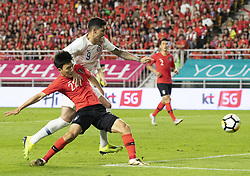 SUWON, Sept. 12, 2018  Hwang Inbeom (L) of South Korea vies with Pedro Hernandez of Chile during a friendly soccer match between South Korea and Chile at Suwon World Cup Stadium in Suwon, South Korea, on Sept. 11, 2018. The match ended with a 0-0 draw. (Credit Image: © Lee Sang-Ho/Xinhua via ZUMA Wire)