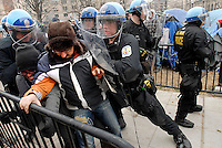 Occupy Washington D.C. protestors are forcibly removed from McPherson Square by U.S. Park Police while enforcing a removal order. Protestors were removed by the city citing health concerns, after months of camping and protest activities.