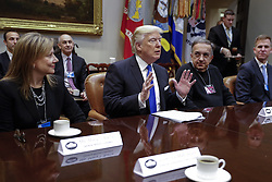 January 24, 2017 - Washington, District of Columbia, U.S. - US President DONALD TRUMP (C), with CEO of General Motors MARY BARRA (L), CEO of Fiat Chrysler Automobiles SERGIO MARCHIONNE (2R) and Fiat Chrysler Head of External Affairs SHANE KARR (R), delivers remarks to automobile industry leaders during a meeting in the Roosevelt Room. (Credit Image: © Shawn Thew/CNP via ZUMA Wire)