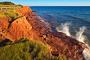 Sandy shoreline and red bluffs along the Northumberland Strait<br />