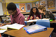 Senior Samrawit Estifanos and tutor Suzana Hernandez of Romania work out AP Calculus problems during the EOS tutoring class during lunch at Milpitas High School in Milpitas, California, on October 13, 2014. (Stan Olszewski/SOSKIphoto)