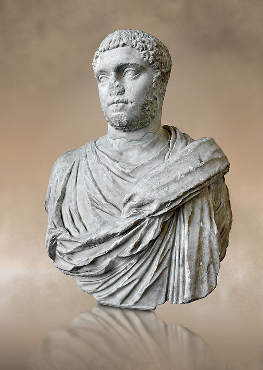 Roman sculpture bust of Publius Septimius Antoninus Geta better known as Geta brother of Caracalla, made between 209 and 212 AD and excavated from the via XX Septembre, Rome. Geta was the younger son of Septimius Severus by his second wife Julia Domna. Geta  was a Roman emperor who ruled with his father Septimius Severus and his older brother Caracalla from 209 until his death, when he was murdered on Caracalla's orders.  The National Roman Museum, Rome, Italy .<br /> <br /> If you prefer to buy from our ALAMY PHOTO LIBRARY  Collection visit : https://www.alamy.com/portfolio/paul-williams-funkystock/roman-museum-rome-sculpture.html<br /> <br /> Visit our ROMAN ART & HISTORIC SITES PHOTO COLLECTIONS for more photos to download or buy as wall art prints https://funkystock.photoshelter.com/gallery-collection/The-Romans-Art-Artefacts-Antiquities-Historic-Sites-Pictures-Images/C0000r2uLJJo9_s0