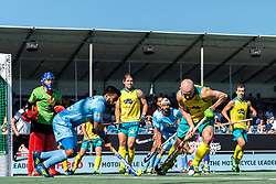 (L-R) Manpreet Singh of India, Matthew Swann of Australia during the Champions Trophy finale between the Australia and India on the fields of BH&BC Breda on Juli 1, 2018 in Breda, the Netherlands.