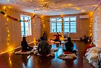 Kundalini yoga class at Catogarden B&B, Reine, Lofoten Islands, Arctic, Northern Norway.
