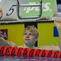 Matthew States of Republic of South Africa reacts to wining in the Men's 200m Freestyle final of the FINA Swimming World Cup held in Budapest, Hungary on Oct. 9, 2021. ATTILA VOLGYI