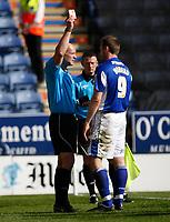 Photo: Steve Bond/Richard Lane Photography. Leicester City v Watford. Coca Cola Championship. 17/04/2010. Ref NS Miller shows Steve Howard a red card